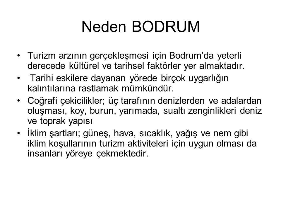 Neden BODRUM Turizm arzının gerçekleşmesi için Bodrum'da yeterli derecede kültürel ve tarihsel faktörler yer almaktadır.