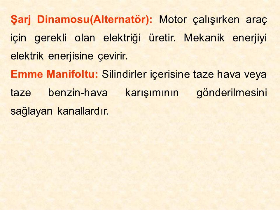 Şarj Dinamosu(Alternatör): Motor çalışırken araç için gerekli olan elektriği üretir. Mekanik enerjiyi elektrik enerjisine çevirir.