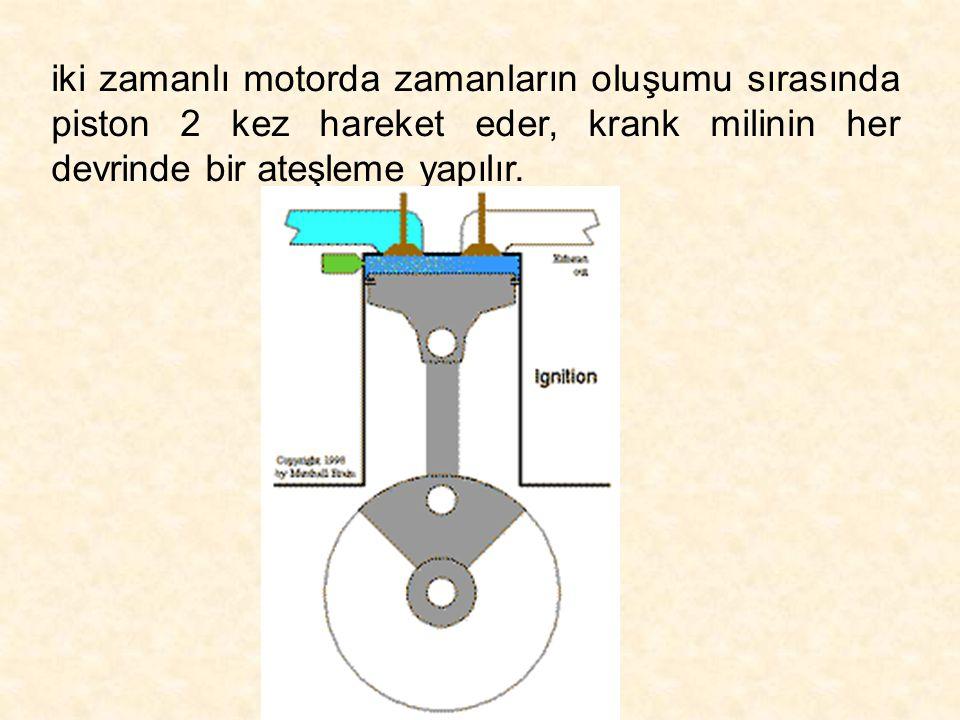 iki zamanlı motorda zamanların oluşumu sırasında piston 2 kez hareket eder, krank milinin her devrinde bir ateşleme yapılır.