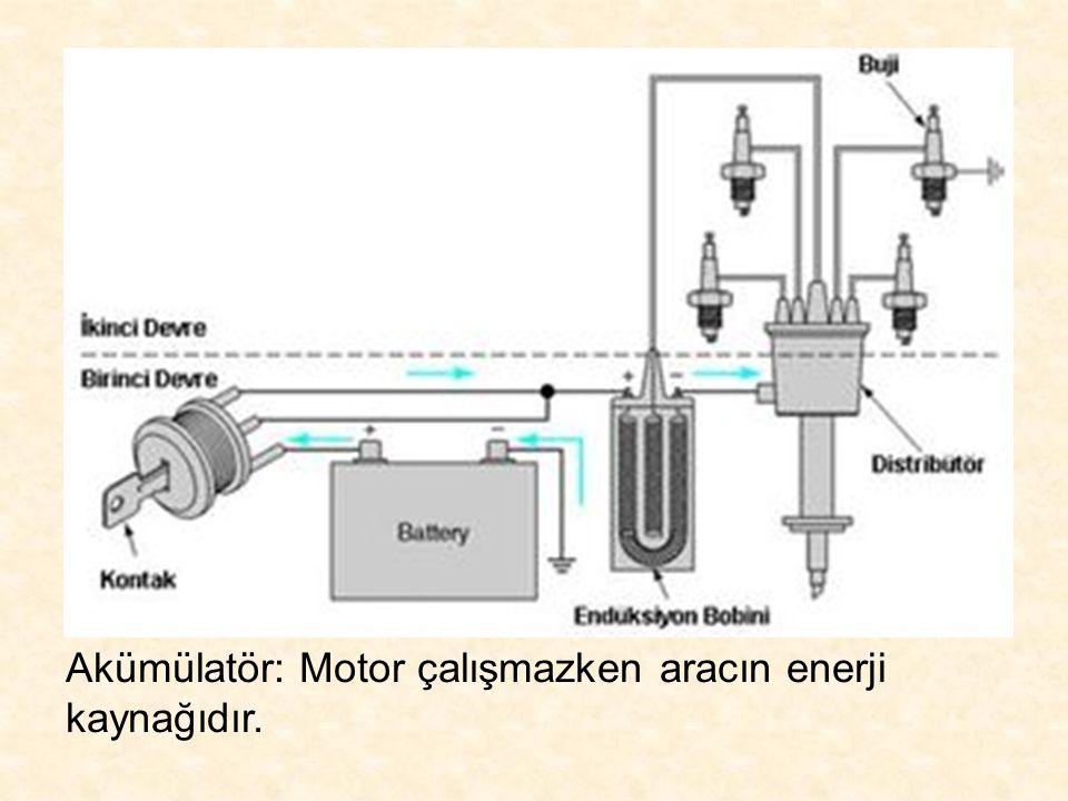 Akümülatör: Motor çalışmazken aracın enerji kaynağıdır.