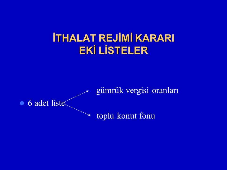 İTHALAT REJİMİ KARARI EKİ LİSTELER