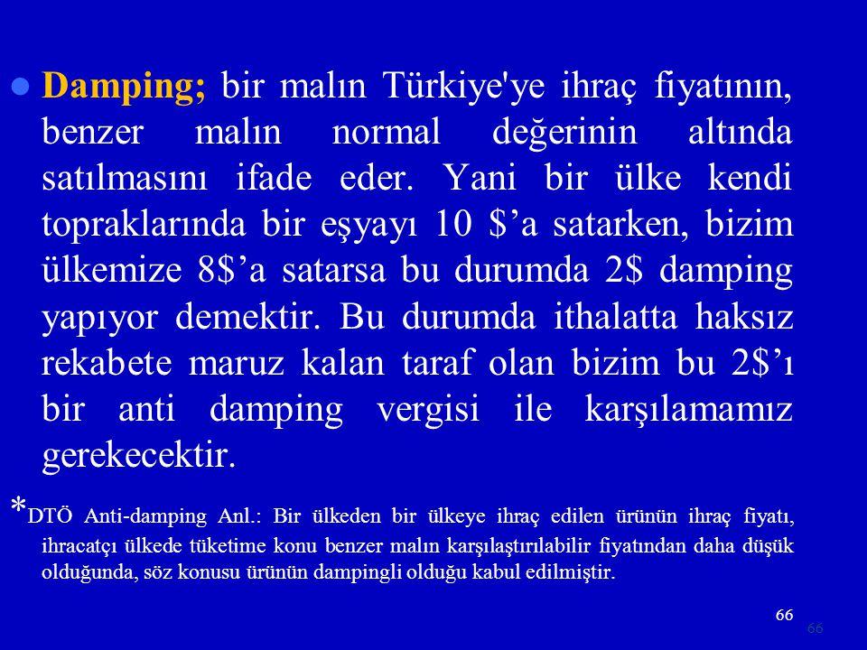 Damping; bir malın Türkiye ye ihraç fiyatının, benzer malın normal değerinin altında satılmasını ifade eder. Yani bir ülke kendi topraklarında bir eşyayı 10 $'a satarken, bizim ülkemize 8$'a satarsa bu durumda 2$ damping yapıyor demektir. Bu durumda ithalatta haksız rekabete maruz kalan taraf olan bizim bu 2$'ı bir anti damping vergisi ile karşılamamız gerekecektir.