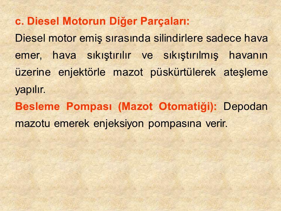 c. Diesel Motorun Diğer Parçaları: