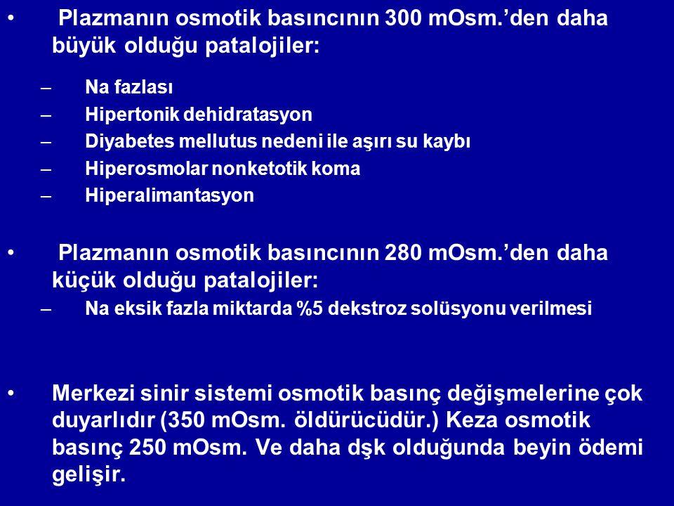 Plazmanın osmotik basıncının 300 mOsm