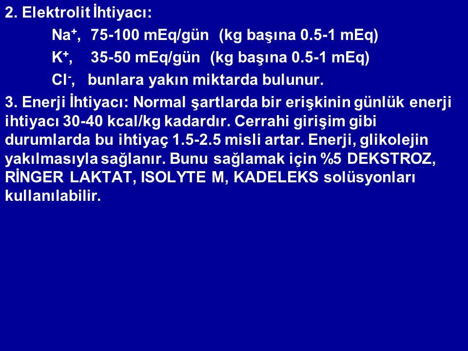 2. Elektrolit İhtiyacı: Na+, 75-100 mEq/gün (kg başına 0.5-1 mEq) K+, 35-50 mEq/gün (kg başına 0.5-1 mEq)