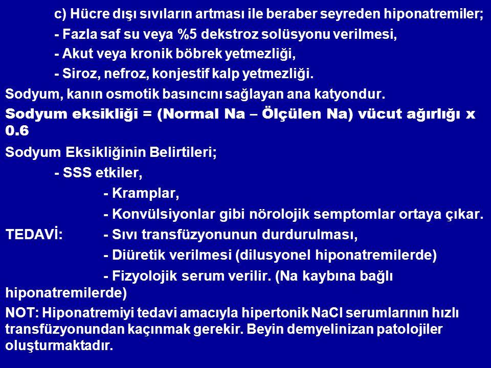 c) Hücre dışı sıvıların artması ile beraber seyreden hiponatremiler;