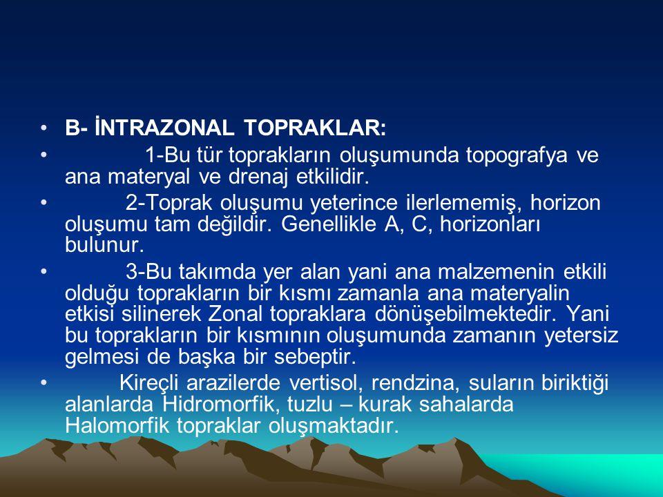 B- İNTRAZONAL TOPRAKLAR: