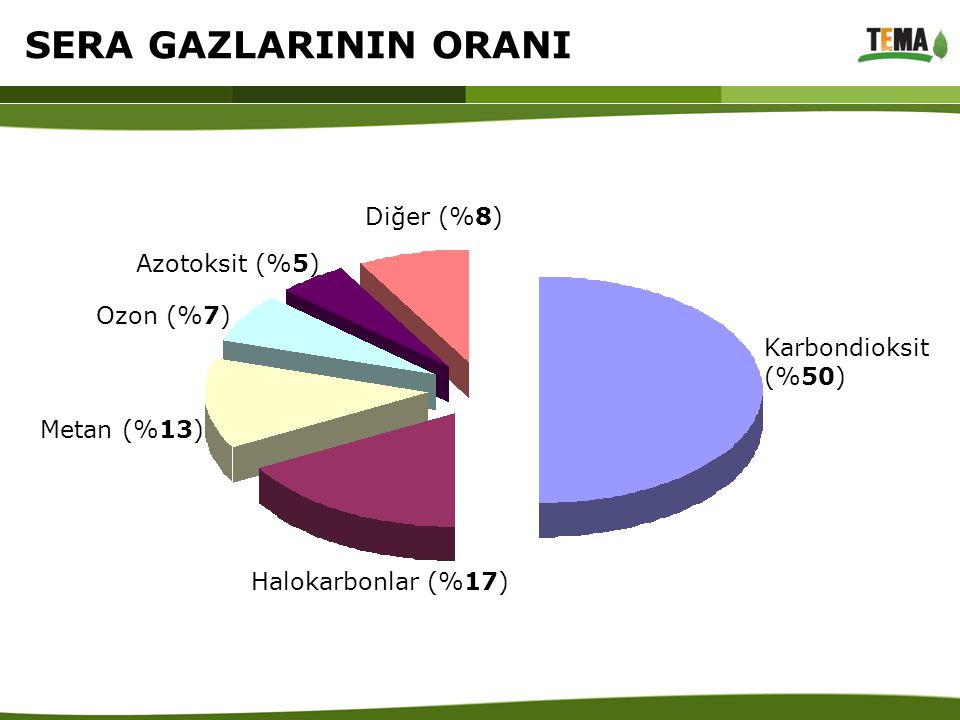 SERA GAZLARININ ORANI Diğer (%8) Azotoksit (%5) Ozon (%7)
