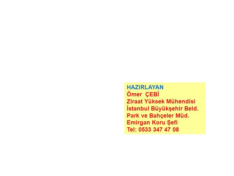 HAZIRLAYAN Ömer ÇEBİ. Ziraat Yüksek Mühendisi. İstanbul Büyükşehir Beld. Park ve Bahçeler Müd. Emirgan Koru Şefi.