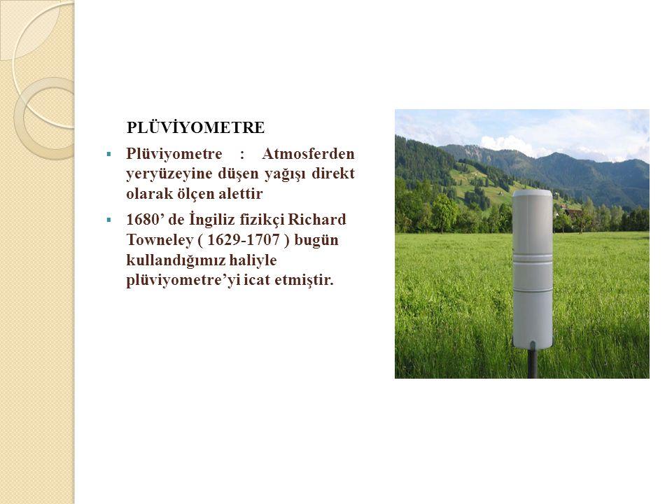 PLÜVİYOMETRE Plüviyometre : Atmosferden yeryüzeyine düşen yağışı direkt olarak ölçen alettir.