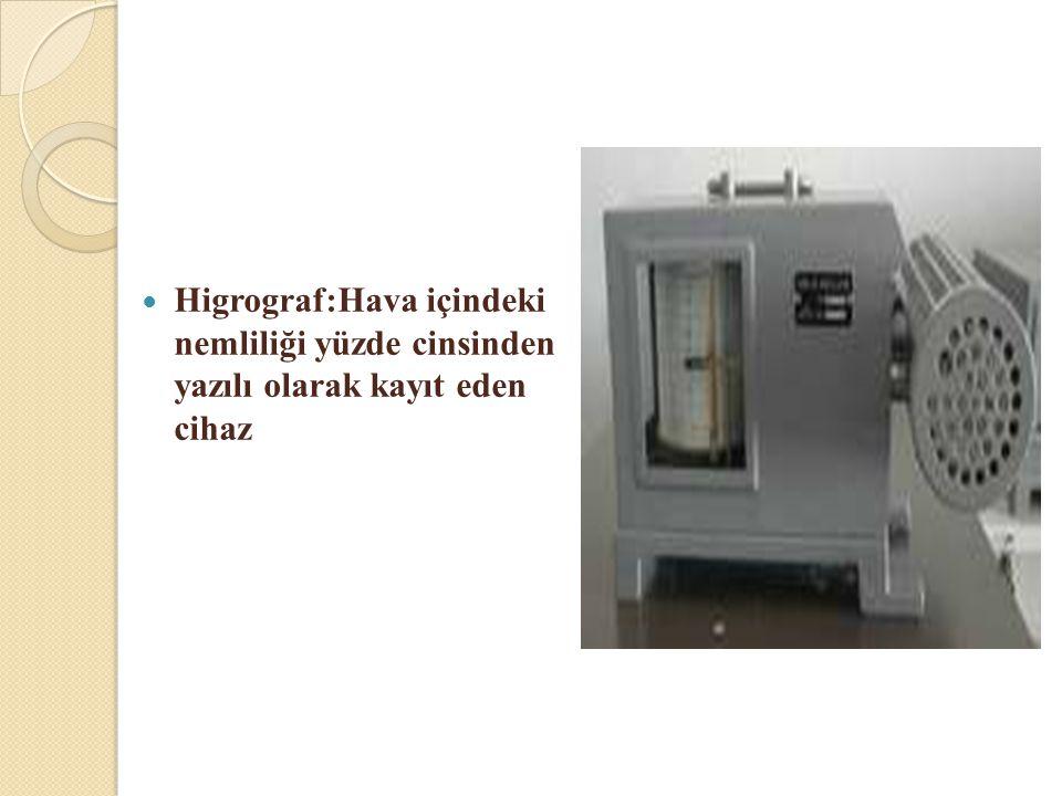 Higrograf:Hava içindeki nemliliği yüzde cinsinden yazılı olarak kayıt eden cihaz