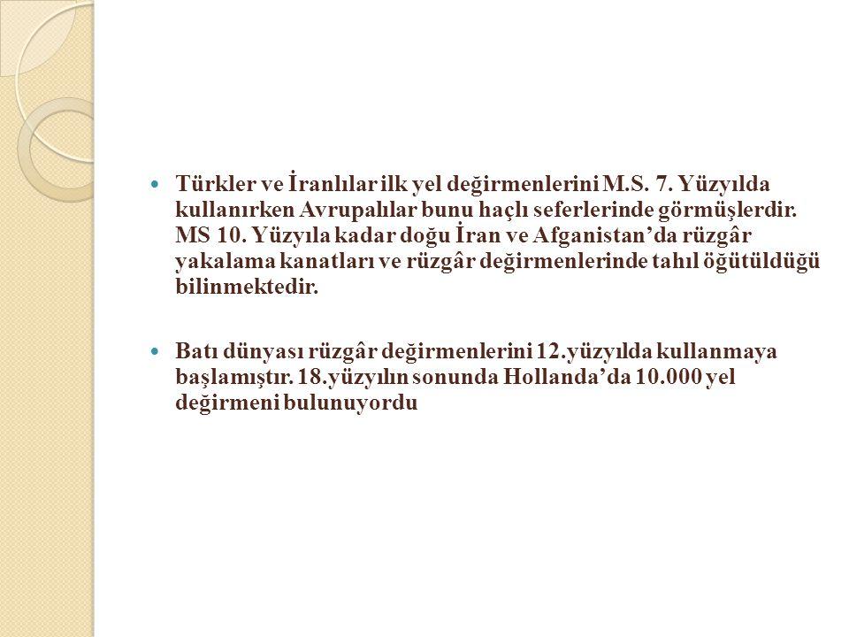 Türkler ve İranlılar ilk yel değirmenlerini M. S. 7
