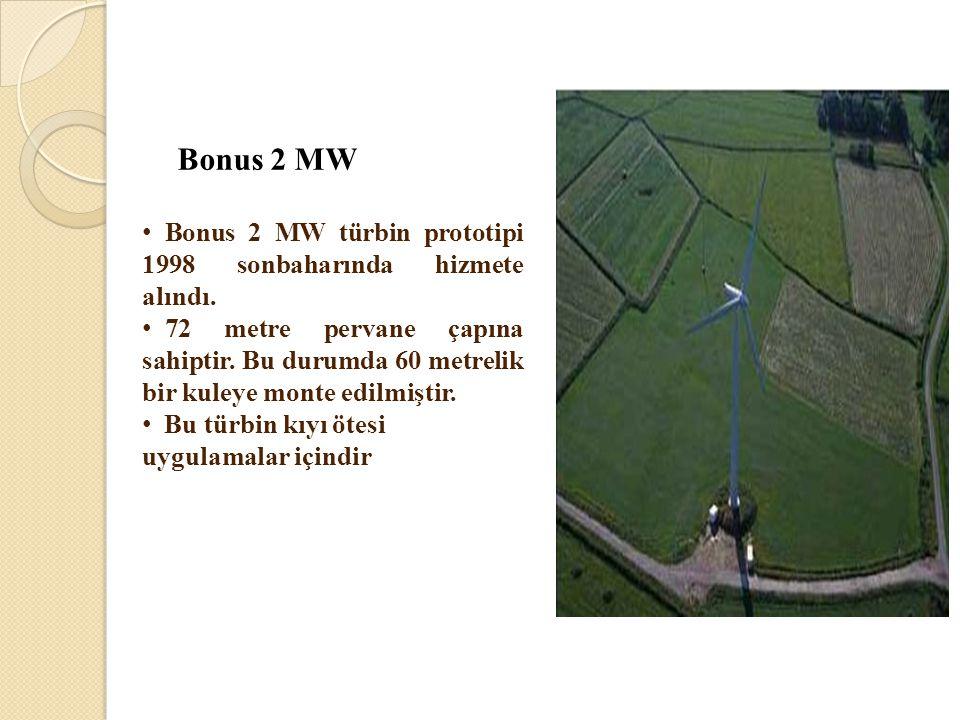 Bonus 2 MW Bonus 2 MW türbin prototipi 1998 sonbaharında hizmete alındı.