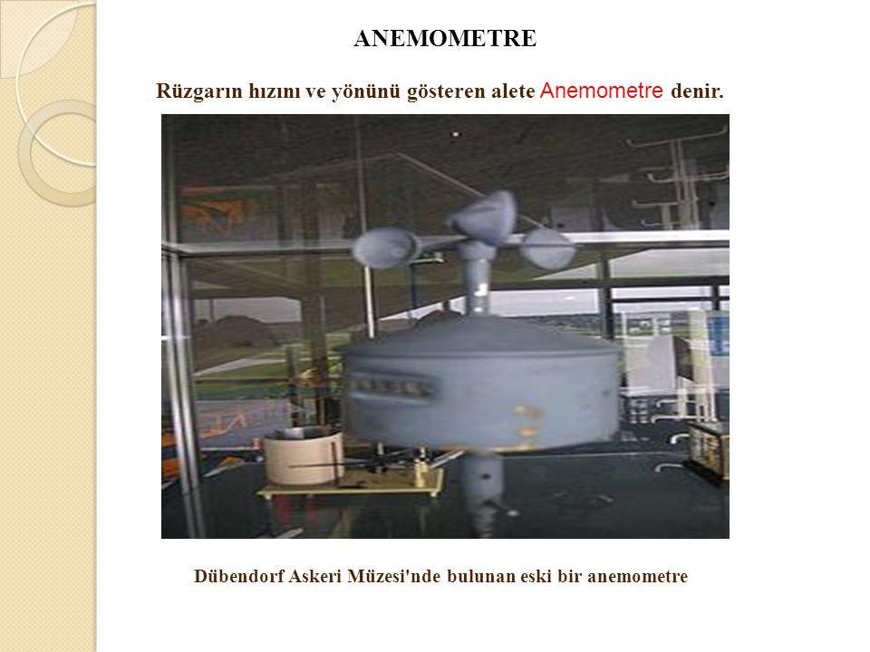 Rüzgarın hızını ve yönünü gösteren alete Anemometre denir.