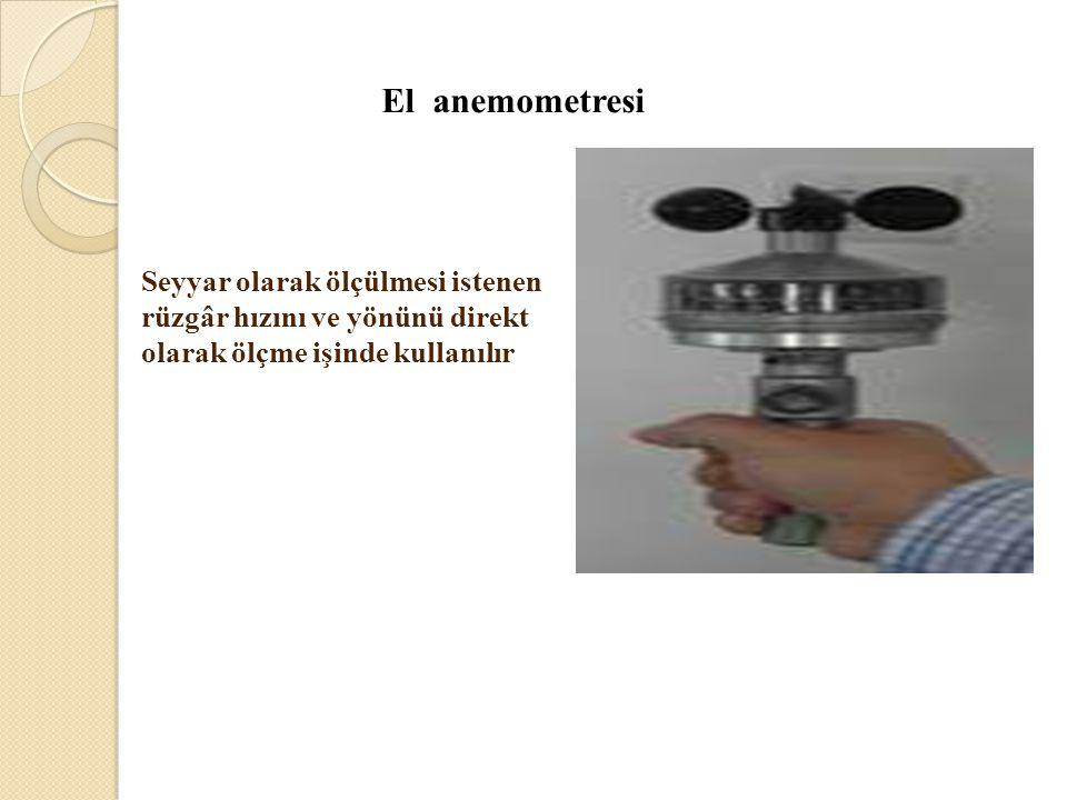 El anemometresi Seyyar olarak ölçülmesi istenen rüzgâr hızını ve yönünü direkt olarak ölçme işinde kullanılır.