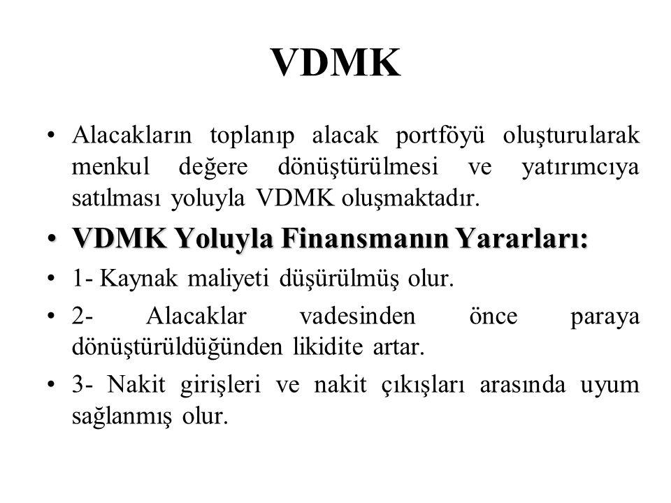 VDMK VDMK Yoluyla Finansmanın Yararları: