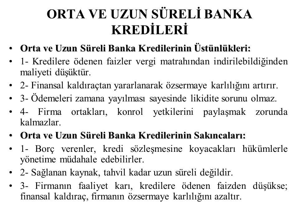 ORTA VE UZUN SÜRELİ BANKA KREDİLERİ