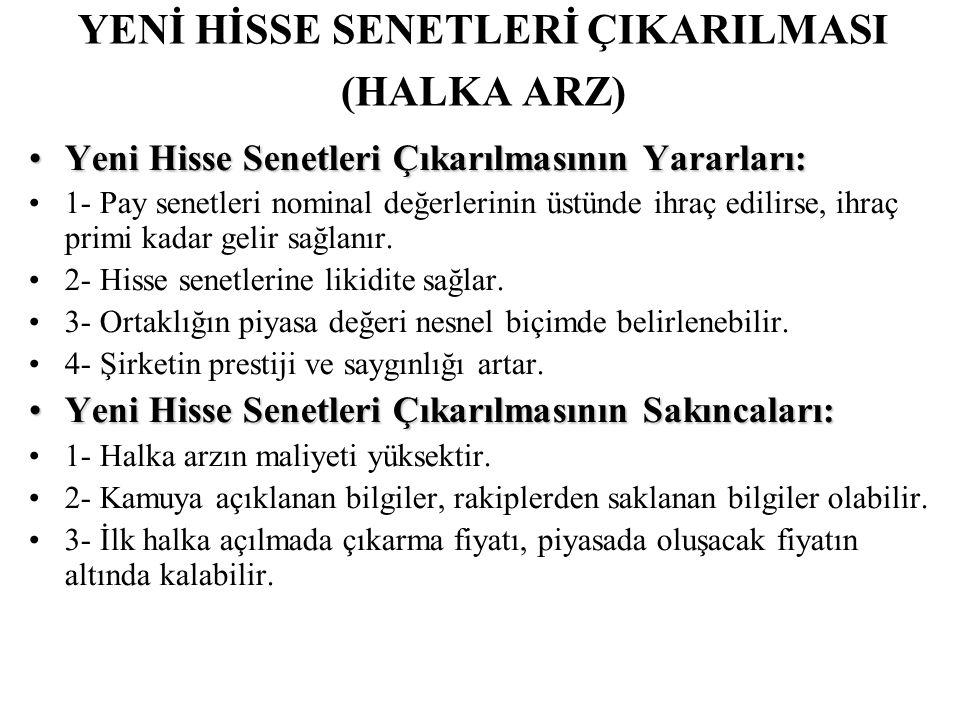 YENİ HİSSE SENETLERİ ÇIKARILMASI (HALKA ARZ)