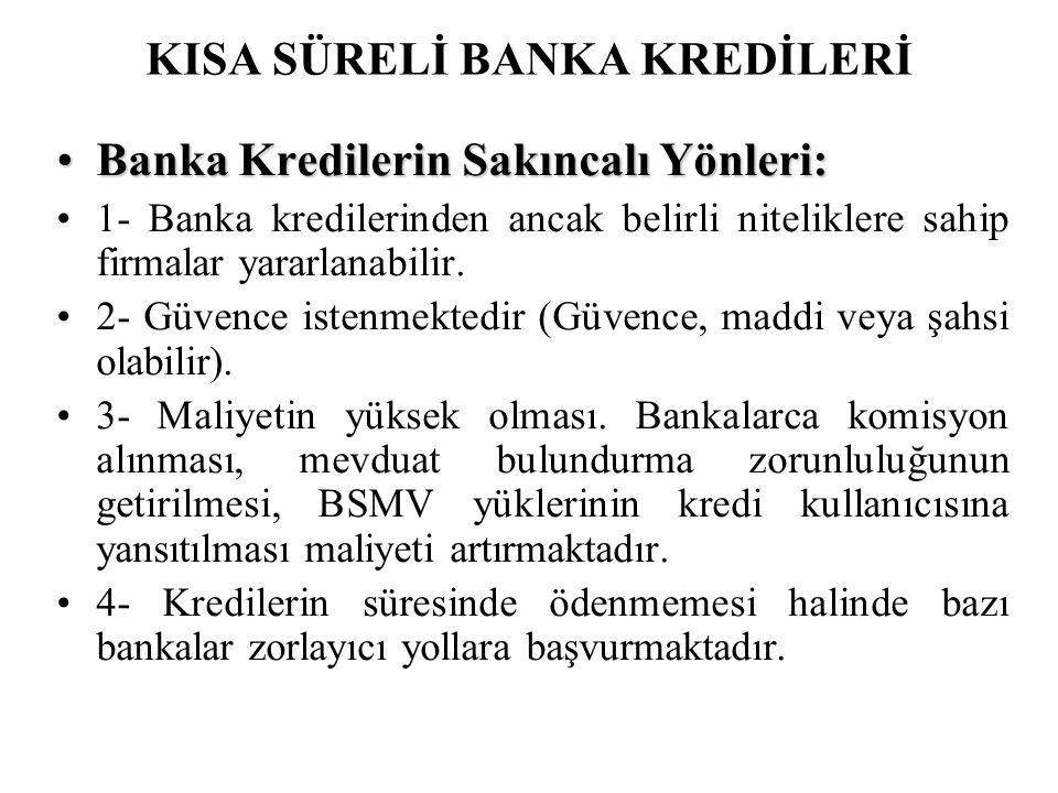 KISA SÜRELİ BANKA KREDİLERİ