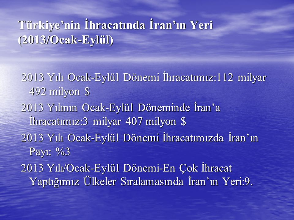 Türkiye'nin İhracatında İran'ın Yeri (2013/Ocak-Eylül)