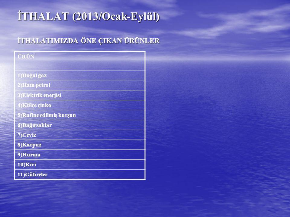 İTHALAT (2013/Ocak-Eylül) İTHALATIMIZDA ÖNE ÇIKAN ÜRÜNLER