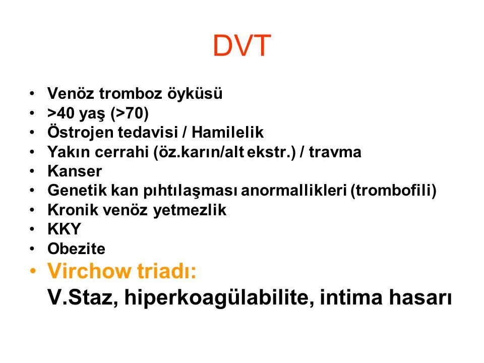 DVT Virchow triadı: V.Staz, hiperkoagülabilite, intima hasarı