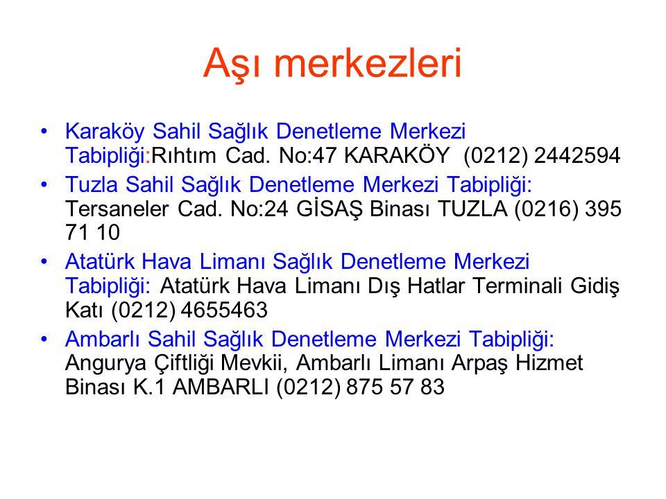 Aşı merkezleri Karaköy Sahil Sağlık Denetleme Merkezi Tabipliği:Rıhtım Cad. No:47 KARAKÖY (0212) 2442594.
