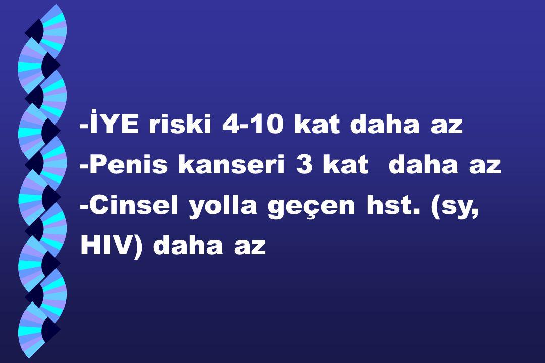 -İYE riski 4-10 kat daha az -Penis kanseri 3 kat daha az -Cinsel yolla geçen hst. (sy, HIV) daha az
