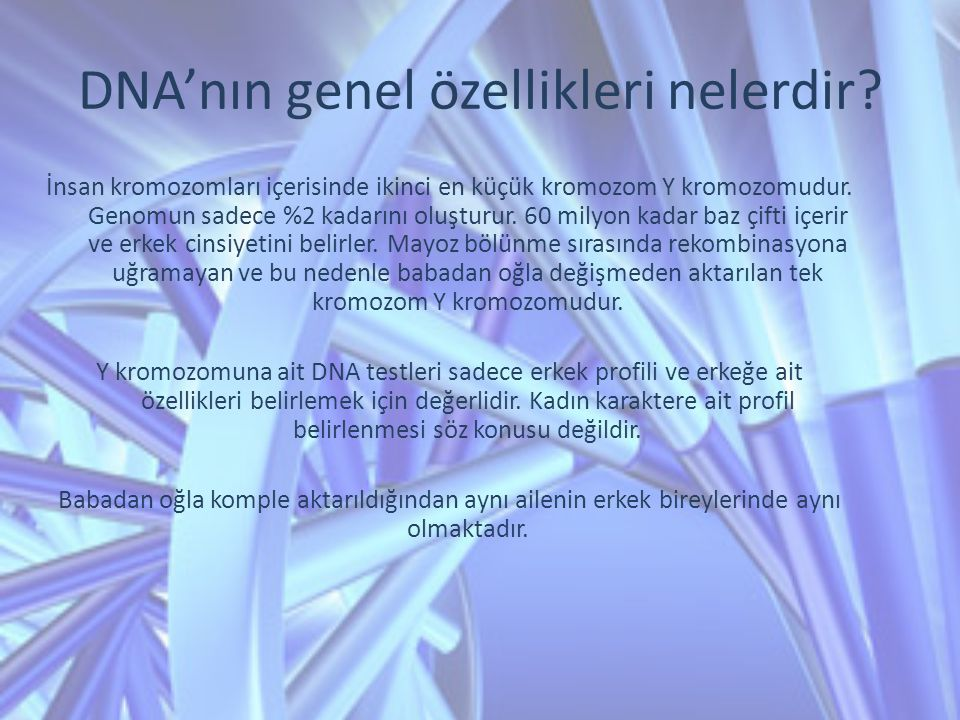 DNA'nın genel özellikleri nelerdir
