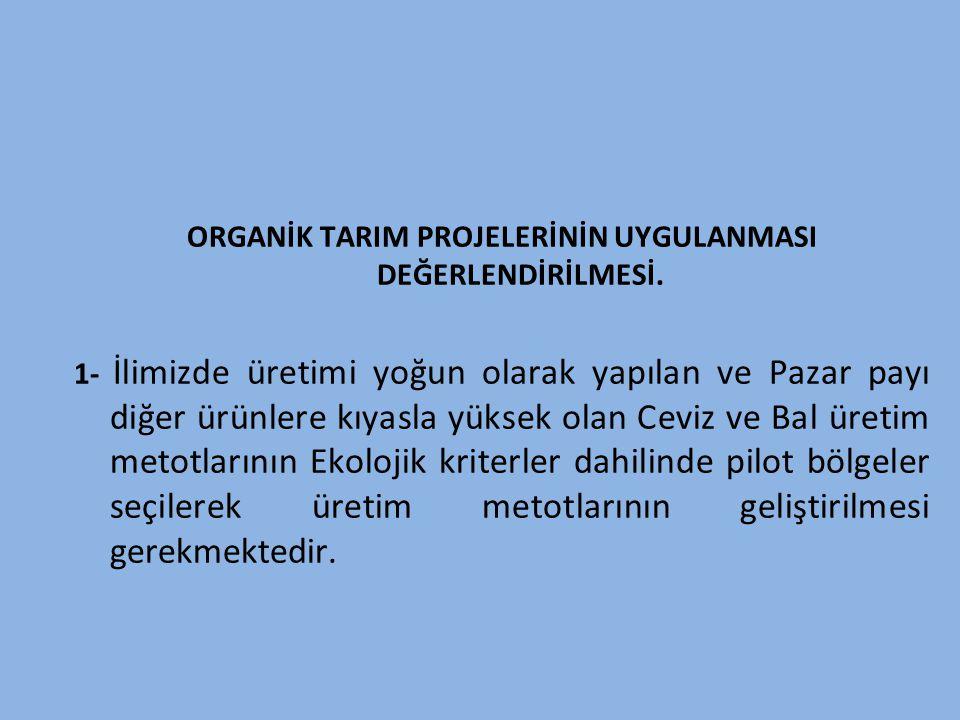 ORGANİK TARIM PROJELERİNİN UYGULANMASI DEĞERLENDİRİLMESİ.