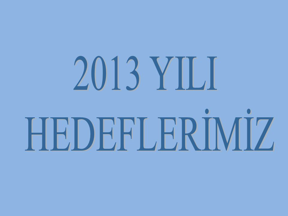 2013 YILI HEDEFLERİMİZ