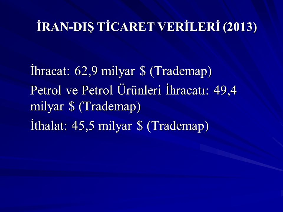 İRAN-DIŞ TİCARET VERİLERİ (2013)