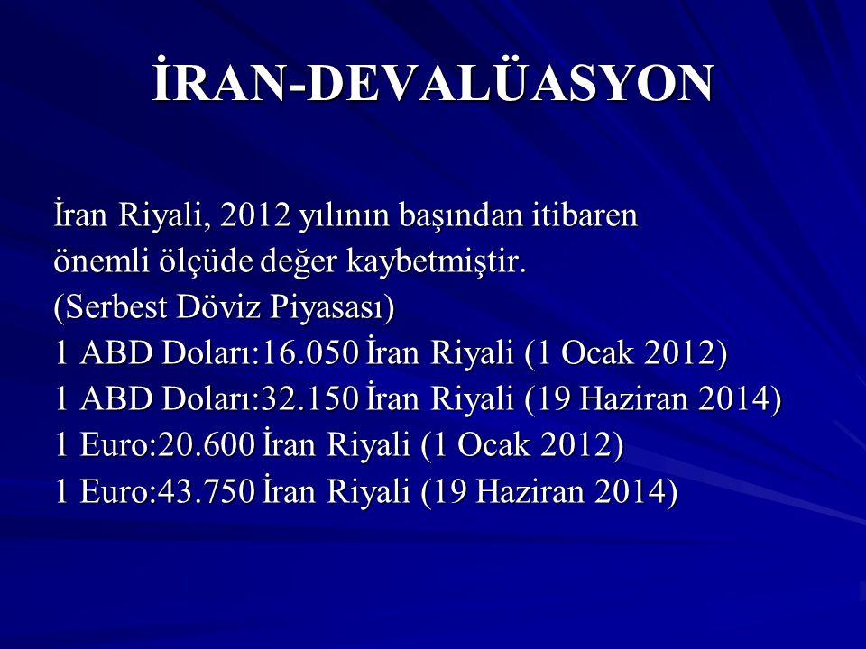 İRAN-DEVALÜASYON İran Riyali, 2012 yılının başından itibaren