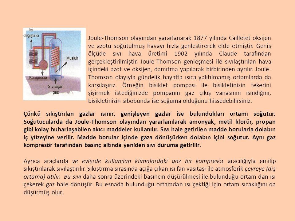Joule-Thomson olayından yararlanarak 1877 yılında Cailletet oksijen ve azotu soğutulmuş havayı hızla genleştirerek elde etmiştir. Geniş ölçüde sıvı hava üretimi 1902 yılında Claude tarafından gerçekleştirilmiştir. Joule-Thomson genleşmesi ile sıvılaştırılan hava içindeki azot ve oksijen, damıtma yapılarak birbirinden ayrılır. Joule-Thomson olayıyla gündelik hayatta ısıca yalıtılmamış ortamlarda da karşılaşırız. Örneğin bisiklet pompası ile bisikletinizin tekerini şişirmek istediğinizde pompanın gaz çıkış vanasının ısındığını, bisikletinizin sibobunda ise soğuma olduğunu hissedebilirsiniz.