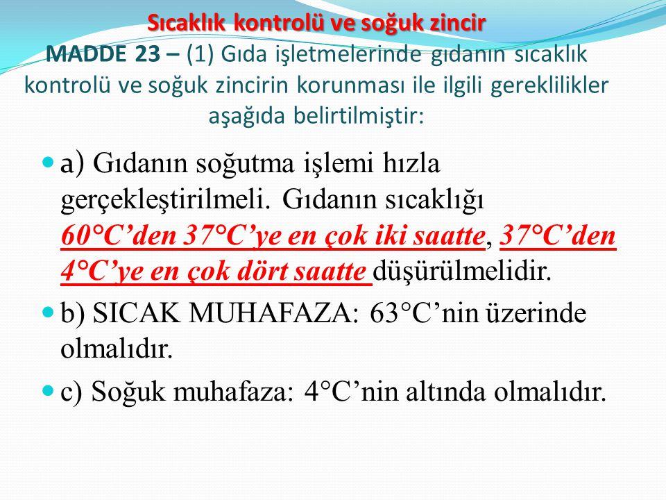 b) SICAK MUHAFAZA: 63°C'nin üzerinde olmalıdır.