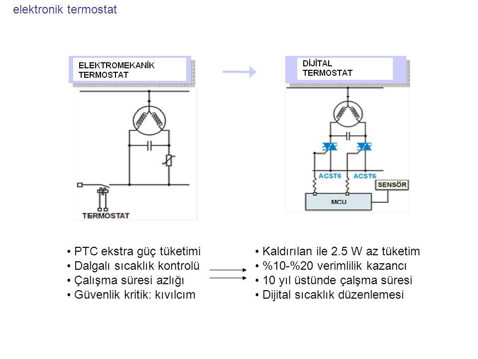 elektronik termostat PTC ekstra güç tüketimi. Dalgalı sıcaklık kontrolü. Çalışma süresi azlığı. Güvenlik kritik: kıvılcım.