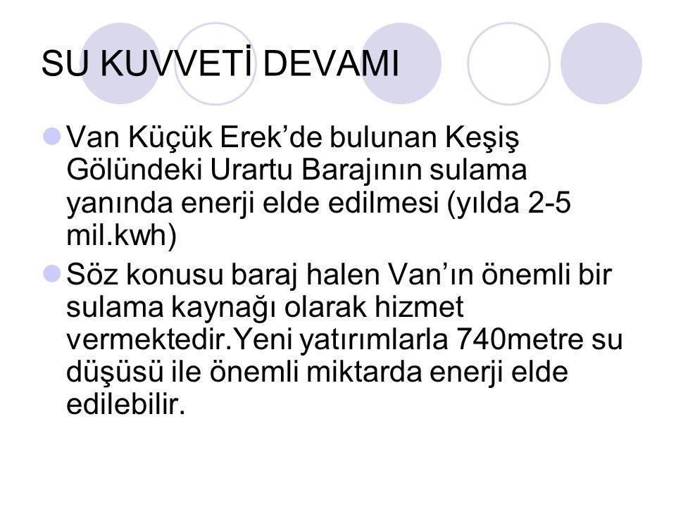 SU KUVVETİ DEVAMI Van Küçük Erek'de bulunan Keşiş Gölündeki Urartu Barajının sulama yanında enerji elde edilmesi (yılda 2-5 mil.kwh)