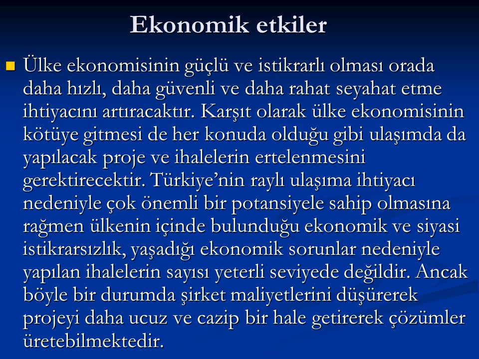 Ekonomik etkiler