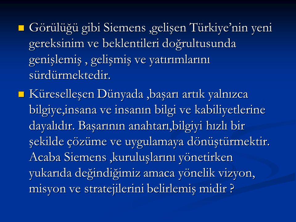 Görülüğü gibi Siemens ,gelişen Türkiye'nin yeni gereksinim ve beklentileri doğrultusunda genişlemiş , gelişmiş ve yatırımlarını sürdürmektedir.