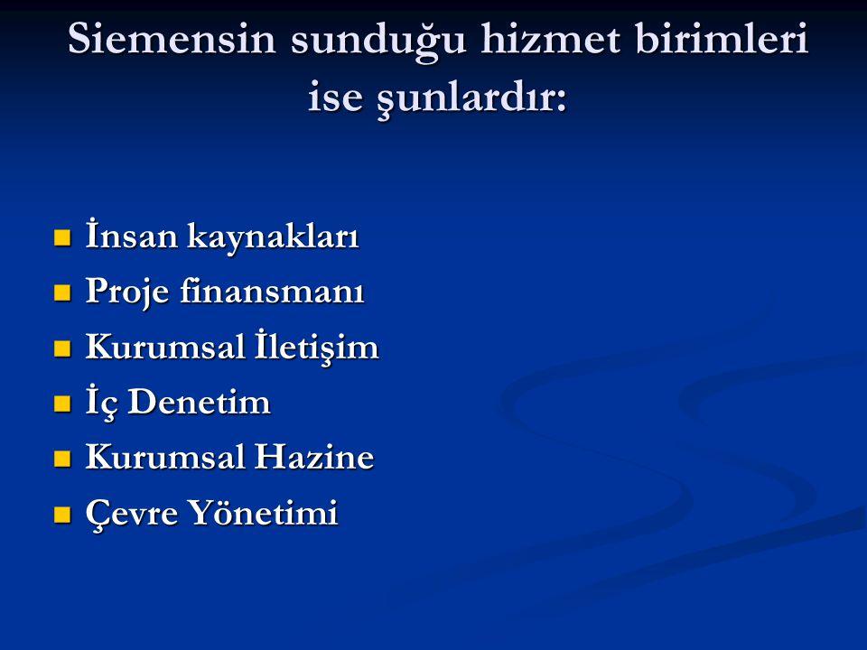 Siemensin sunduğu hizmet birimleri ise şunlardır: