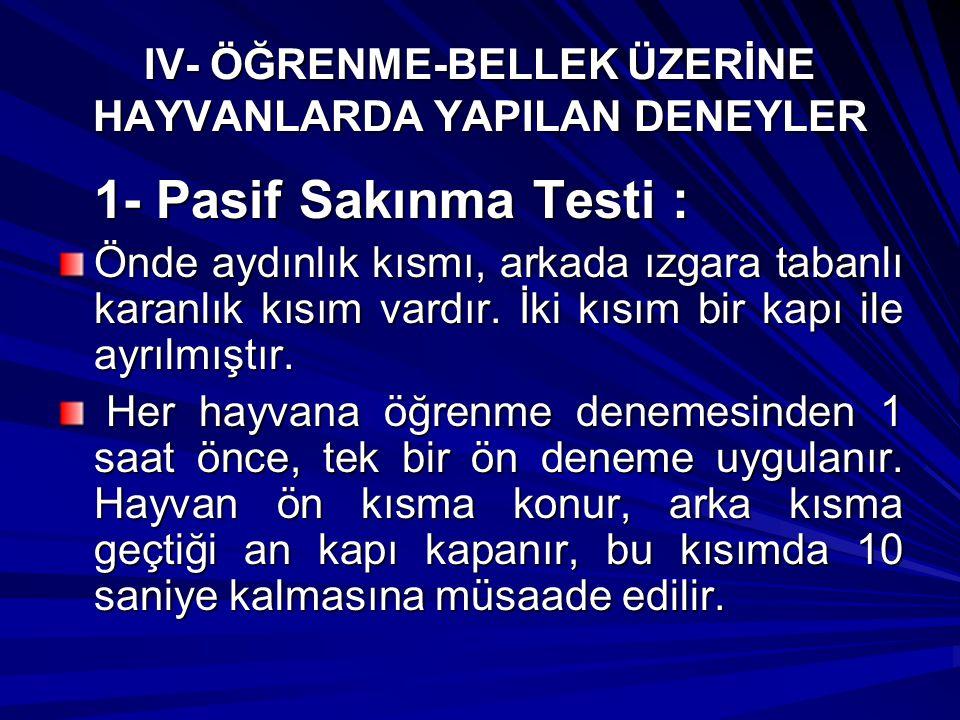 IV- ÖĞRENME-BELLEK ÜZERİNE HAYVANLARDA YAPILAN DENEYLER