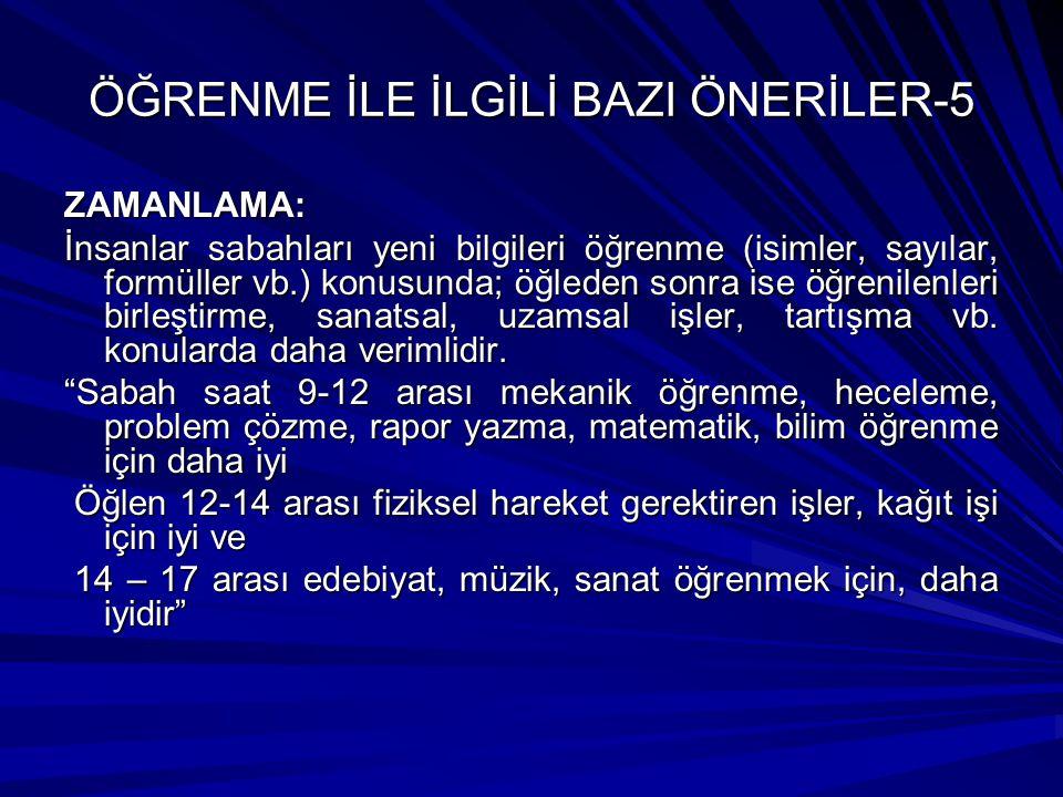 ÖĞRENME İLE İLGİLİ BAZI ÖNERİLER-5