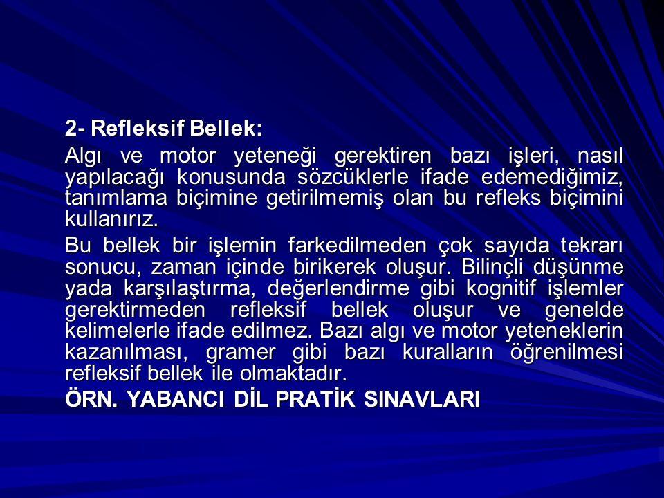 2- Refleksif Bellek: