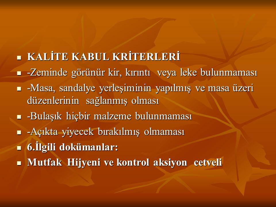KALİTE KABUL KRİTERLERİ