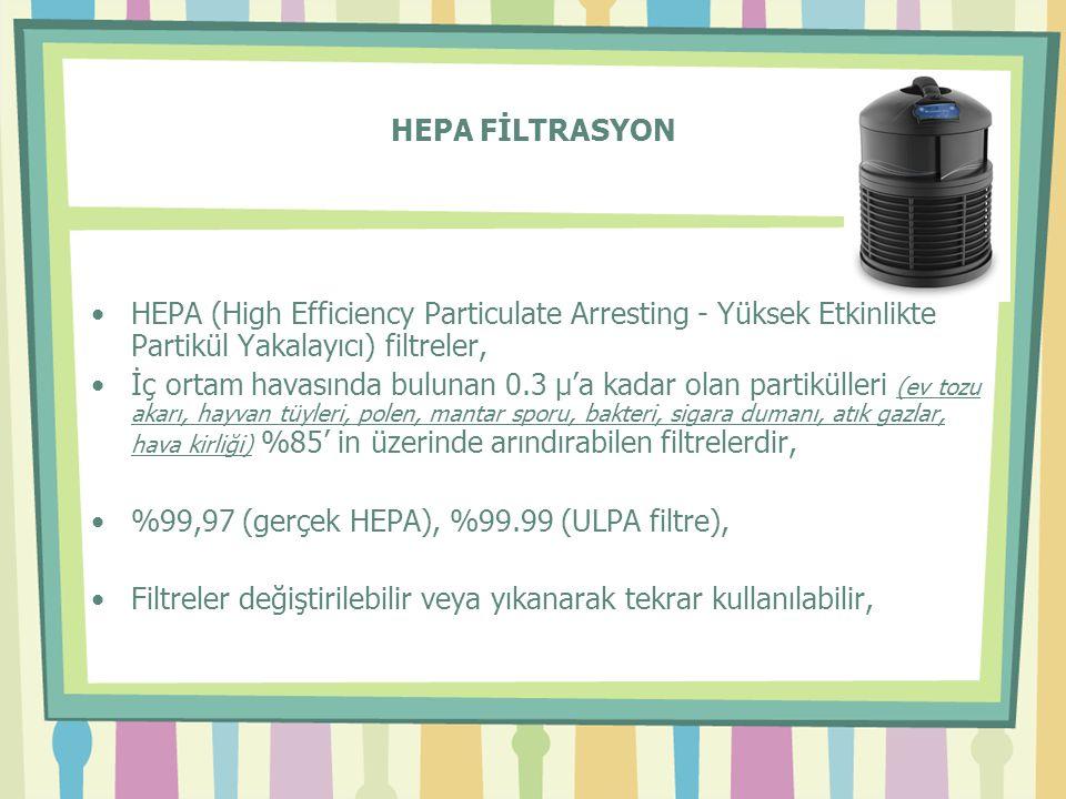 HEPA FİLTRASYON HEPA (High Efficiency Particulate Arresting - Yüksek Etkinlikte Partikül Yakalayıcı) filtreler,
