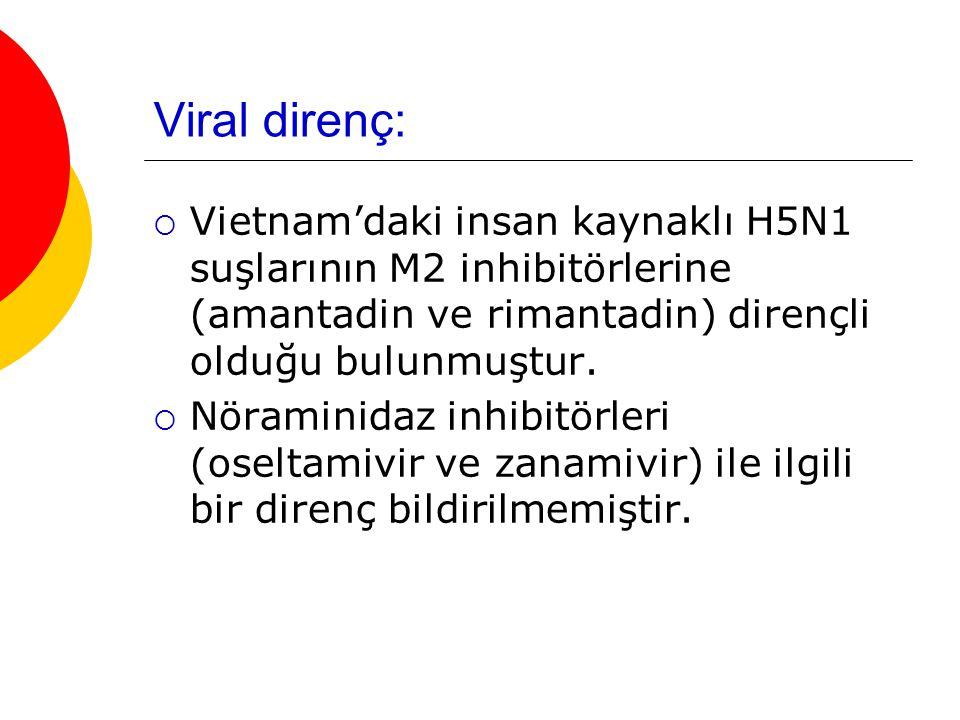 Viral direnç: Vietnam'daki insan kaynaklı H5N1 suşlarının M2 inhibitörlerine (amantadin ve rimantadin) dirençli olduğu bulunmuştur.