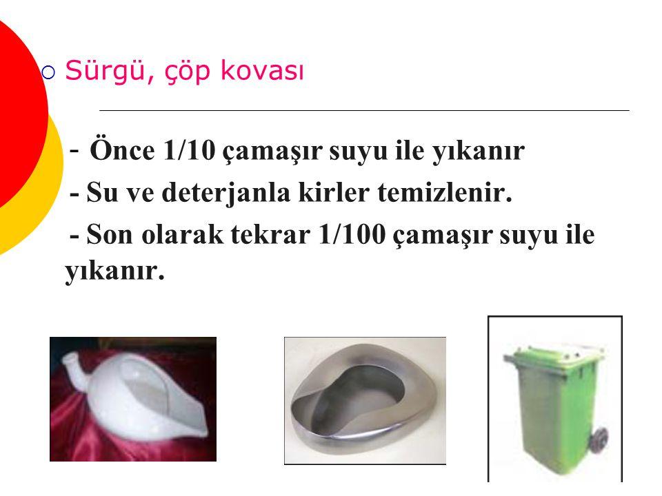 - Su ve deterjanla kirler temizlenir.