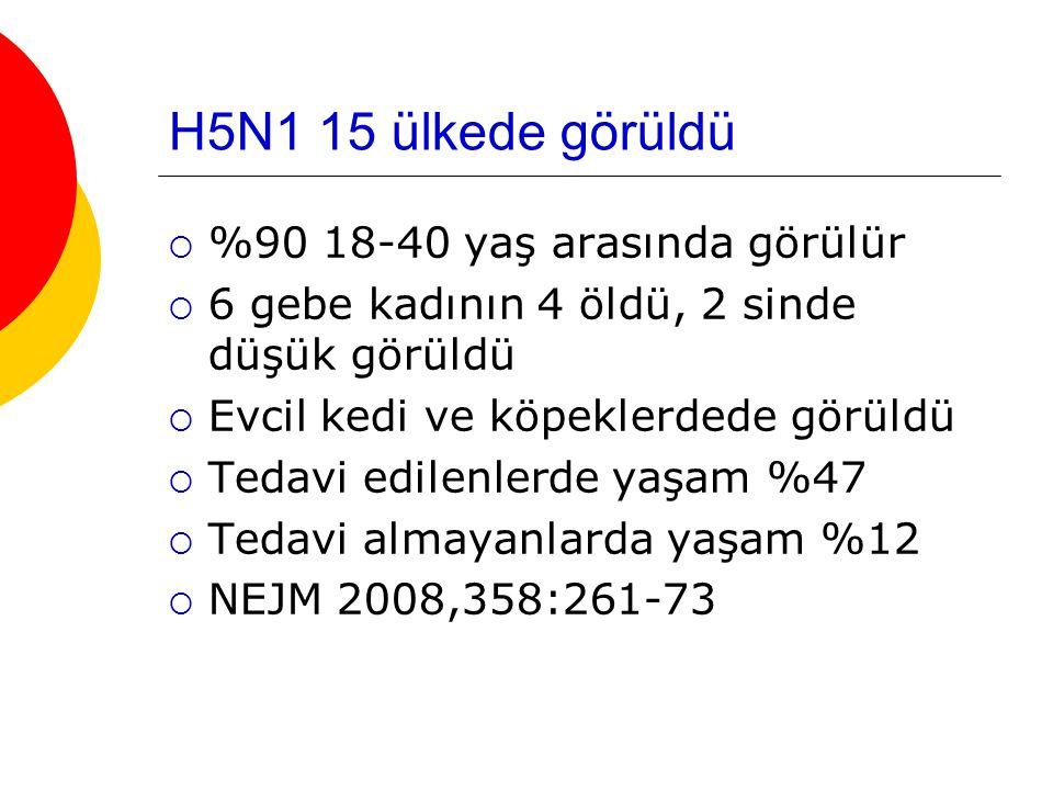H5N1 15 ülkede görüldü %90 18-40 yaş arasında görülür