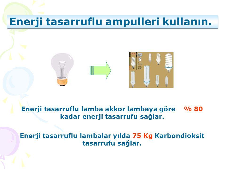 Enerji tasarruflu lambalar yılda 75 Kg Karbondioksit tasarrufu sağlar.