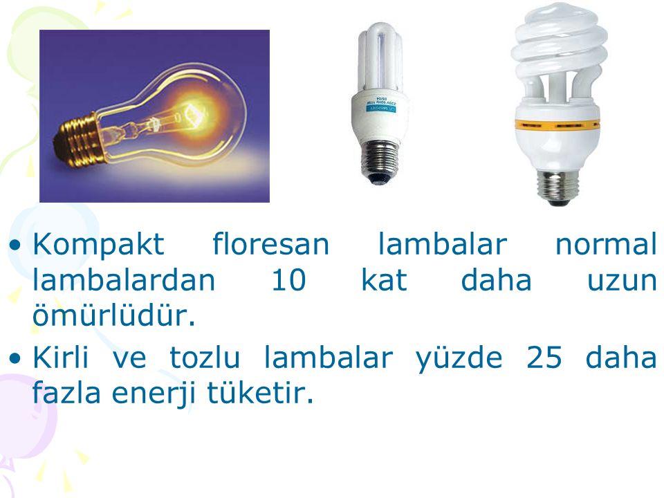 Kompakt floresan lambalar normal lambalardan 10 kat daha uzun ömürlüdür.